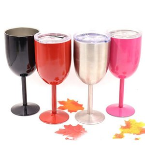 Cups Party Stainless Colored Tumber 9 Colors 10oz Wine Glass Double Wall Insulated Metal Goblet With Lid Tumbler Wine Mugs DHL Free