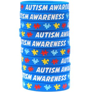 Autism Awareness Bracelets Autism Puzzle Piece Silicone Wristband Durable Rubber Autism Awareness Colorful Puzzle Pieces Wristbands