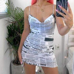 Women Backless Newspaper Print Dress Summer Fashion Sleeveless Drawstring Short Dress for Women Ladies Drop Shipping