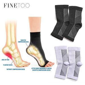 FINETOO respirable de la manga del pie Calcetines Hombres 1 par de pies Ángel antifatiga Outerdoor de las mujeres medias de compresión del calcetín deportivo S-XL