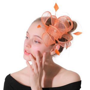 Orange fancy feather sinamay hats wedding fascinator with combs women decor on hair clips charming headdress or 21 Colors XMF176