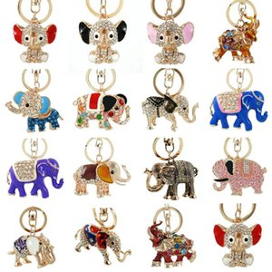 3D Auspicious Multiple styles Elephant Key Holder Chains Whole Enamel Colorful Crystal Bag Pendant Keyrings KeyChains For Women