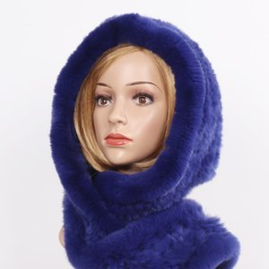 20 New Winter Women Real Fur Hat+Scarves Female Knitted Natural Rex Rabbit Fur Hooded Scarves Warm Knit Genuine Fur Caps Scarf Y200104