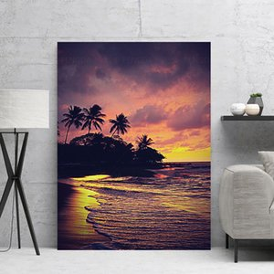 Home Decor Canvas Sunset Glow Hd Print Posters Beach Tree Painting Modern Sea Wall Art Scenery Living Room Modular Pictures