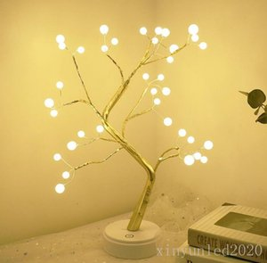 2020 Battery Operated Tree Lamp Decorative LED Lights Tree Night Lights Fairy USB Touch Desk Table Kids Bedroom Warm White Night Bedside Lam