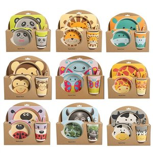 Set Baby Dishes Set Bowl Tableware With Spoon Fork Cup Bamboo Fiber Dinner Bowl Cartoon Feeding Dishes Baby Products Gifts LJ201221