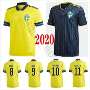 2020 Suecia camiseta de fútbol GUIDETTI FORSBERG BERG Ekdal JOHANSSON JOHNSSON LARSSON personalizada sueca casa Fuera Camisa adulta de fútbol de los niños