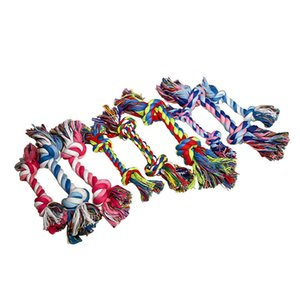 18cm 25g Pets dog Cotton Chews Knot Toys colorful Durable Braided Bone Rope Funny dog cat Toys