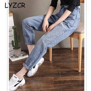 LYZCR Denim Jeans Fidanzato Loose Women vita alta Donne di jeans lunghezza caviglia fidanzati donna pantaloni diritti dei jeans 201029
