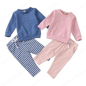 Infant Baby Striped Outfits Solid Colors Long Sleeve Tops Kids Sweater Baby Boys Clothes Sets Vêtements Bébé Pockets Striped Trousers