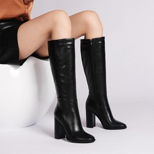 Knee-High Boots Winter Fashion Shoes Women Black White Red Thick Heel Hot Elegant Lady Footwear High Heel Motorcycle Boot ZT80L