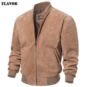 Flavor Men Classic Real Pigskin Coat Genuine Baseball Bomber Chaqueta de cuero 201120