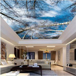 HD 하늘 나무 자작 나무 천장 벽화 3D 천장 벽화는 3D 천장 벽지