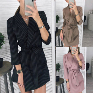 Women's Turndown Peplum Dress Suit Formal Office Business Work Business Party Bodycon One-Piece Short Dress Jacket 4 Colors 8774