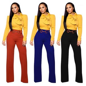 Casual Trousers Women Professional Wear Autumn New Ladies Clothing with Sash Fashion Straight Pants Womens Designer Retro