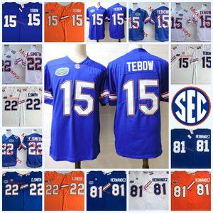 Mens Ncaa # 15 Tim Tebow Florida Gators 대학 축구 유니폼 스티치 # 22 Emmitt Smith # 81 Aaron Hernandez Florida Gators Jersey S-3XL