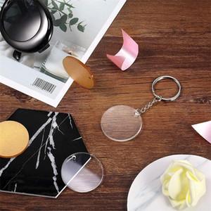 Kreativer Schlüsselanhänger 5 cm Leere Scheibe mit Wildleder Quaste Vinyl-Schlüsselanhänger verfügbar Monogrammiert Clear Acryl-Scheiben-Tassel Keychain Christ 104 K2