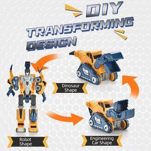 DIY Rompecabezas magnéticos Montaje Transformar serie Robot Dinosaurio e ingeniería Juguetes de construcción magnética TW2011019
