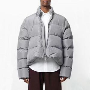 18FW Oversize Pamuk Ceket Yüksek Kalite Casual Siyah Gri Coat Erkek Kadın Ceket Moda Kabanlar HFLSYRF046