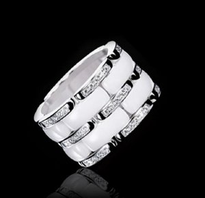 New Arrival Fashion Lady 316 Titanium Steel Black White Ceramic Setting Three Rows Diamond Wedding Engagement 18K Gold Plated Rings Size5-11