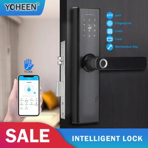 Tarjeta inteligente de RFID YOHEEN cerradura de la huella digital de la puerta del teclado Código de bloqueo electrónico TTLock Bluetooth 201013