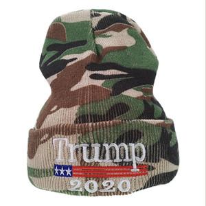 Trump Camouflage Hat Mens Winter Headgear Knitting 2020 USA DONNE TENUTE TENERE CALDA Berretto Beanie Nuovo 8 5LM G2