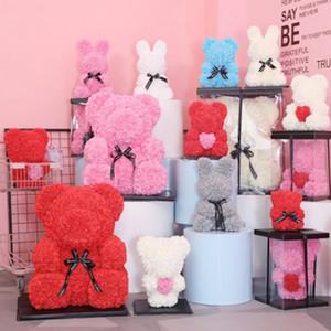 Gül Çiçek 25 cm Teddy Gül Ayı Kutusu ile Sevgililer Günü Hediyesi Yapay PE Çiçek Ayı Sabun Köpük Bear Roses Doğum Günü Hediyeleri