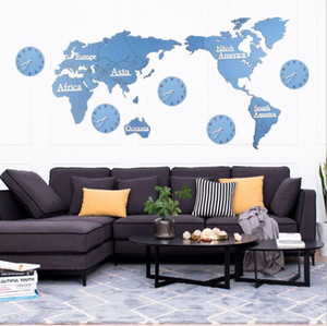 خريطة العالم الخشبي ساعات الحائط 3d خريطة ديكور ديكور ديكور المنزل الحديثة النمط الأوروبي جولة غير تدفق صامت جدار عصا ساعة ZYY426