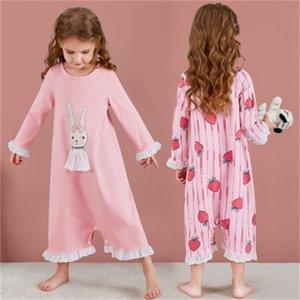 الأطفال باس النوم الفتيات الملابس المنزلية الكرتون الفراولة القطن قطعة واحدة منامة الأميرة الطفل طويل الأكمام nightdress 201104