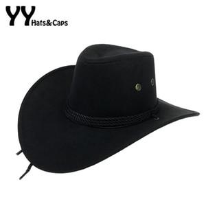 Western American Mens Cowboy Hats Wide Brim Travel Sun Hat Cowboy Cowgirl Faux Suede Triple Strings Chapeau Homme YY18015