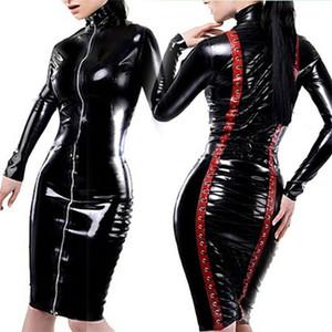 High Quality Women Pole Dance Zipper Front Erotic Clothes PVC Faux Leotard Leather Sexy Dress Latex Bodysuit Lace Up PVC Dress