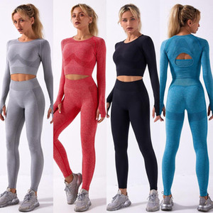 Yoga Suits Fitness Women Long Sleeve Shirt Mesh Seamless Leggings Sports Outfits Gym Wear Running Clothing Sportwear SetsLF240
