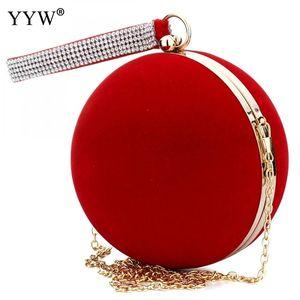 YYW Уникального Velvet Iron-On Lady Handbag Red плечо сцепление сумка Сферическая Вечерние сумки Малого кошелек цепь плечо Bolsos Mujer C1009