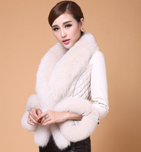Savabien Autumn Winter Warm Furry Faux Fur Collar Leather Jacket Fashion Slim Overcoat Pink Black Faux Fur Coat Festival Coats