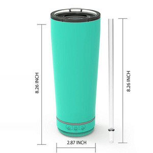 New 18oz Creative Bluetooth Music Tumbler Waterproof Speaker Double Wall Thermos Stainless Steel Portable Coffee Cup New Year ZZC4126