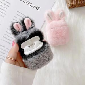 모피 봉제 토끼 귀 에어 포드를위한 이어폰 케이스 아이폰 Airpods 1 2 3 세대 CUTE 케이스 보호 커버 슬리브 파우치