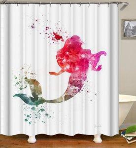 인어 목욕 샤워 커튼 3D 인어 낚시 샤워 커튼 패브릭 홈 인테리어 방수 핑크 고양이 샤워 커튼이나 매트