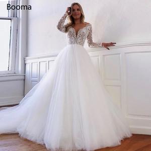 Booma V-Ausschnitt Spitze Boho lange Ärmel Tüll Brautkleider geöffnetes zurück Strand Hochzeit Kleider Plus Size Q1110