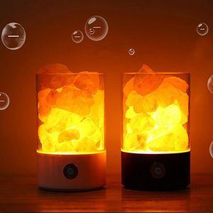 Accueil Décor Led Crystal Sel Light Purificateur Air Purificateur coloré Lampe Souchage Charge Smart Chambre USB Chambre à chevet Chauffe Lava Lumières Cadeau DHF2794