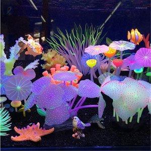 Aquariums Accessoires Artificiels Coral Récif rougeoyant Lotus Feuille Champignon Pierres lumineuses Pierres de poisson Décoration de réservoir de poisson avec sucker1