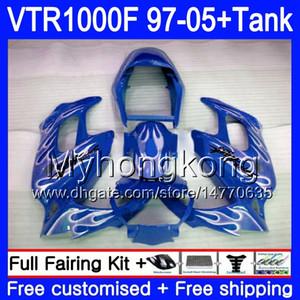 Fairing für HONDA SuperHawk VTR1000 F 1997 1998 1999 2000 2001 Blaue Flammen 56HM.195 VTR 1000 F 1000F VTR1000F 97 98 99 00 01 05 Body + Behälter