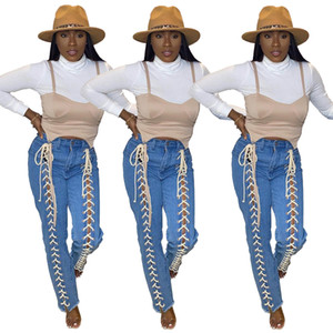Fashionable Lace up Women Jeans INS Hot High Waist Blue Straight Jeans New Arrivals Zipper Fly Hollow Out Sexy Denim Pants Girls Wear