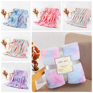160*130cm Tie Dye Fuzzy Throw Blanket Double Layer Shaggy Blankets Bedroom Carpet Bedding Sofa Cover 5 Designs Sea Shipping RRA3833