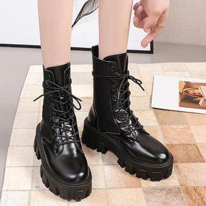 Lucyever Punk-Stil-Patent Leder Knöchelstiefel für Frauen Mode Schnalle Chunky Platform Motorradstiefel Frau Wasserdichte Schuhe