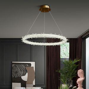 Art Deco Crystal Gold Metal Chandelier Modern Living Room Bar Villa Hotel Decor Pendant Light LED Fixture