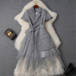 CBAFU notched collar blazer mesh patchwork summer dress office party dresses with belt short sleeve tulle long dress P885