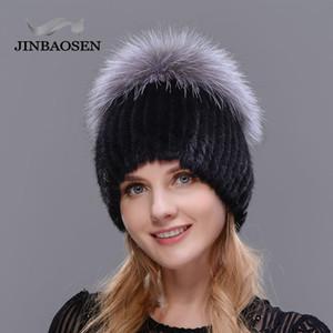 JINBAOSEN Hot Sale chaud Mode hiver Femmes Knit Caps Mink avec chapeaux en fourrure de renard verticale tissés Haut 201008