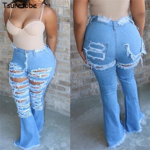 Tsuretobe Ripped for Women Fashion Fashion Flare con agujeros Vintage Bell Bottom Jeans Ropa para mujer 201028