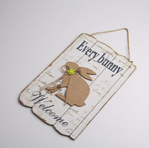 Easter Hanging Ornaments Rabbit Wooden Decorative Board Welcome Sign Plaque Cartoon Easter Crafts Party Wall Door Decor zyy504