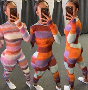Femmes Jumpsuit Slim Sexy Colorful Stripes pantalon à manches longues dames New Fashion Casual Imprimé Tight Barboteuses Onesies 2020